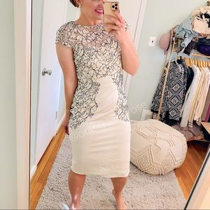 NWT Lela Rose White Pieced Lace Sheath Dress 8